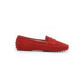 Hakiki Deri Kırmızı Kadın Süet Loafer