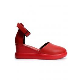 Hakiki Deri Kırmızı Kadın Sandalet