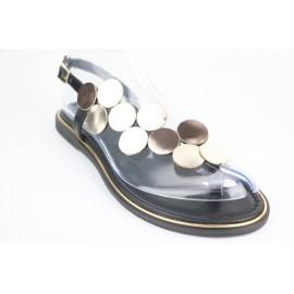Altın Kadın Deri Sandalet