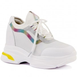 Dolgu Topuk Beyaz Kadın Sneakers 20Y306-5