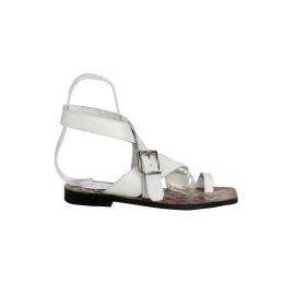 Hakiki Beyaz Deri Kadın Sandalet