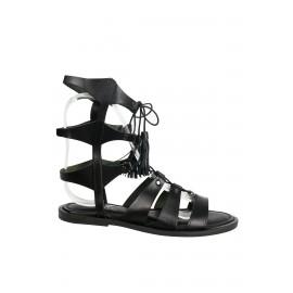 OZ Siyah Kadın Deri Sandalet