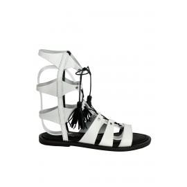 OZ Beyaz Kadın Deri Sandalet