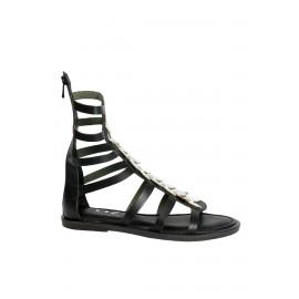 Kadın Siyah Bant Detaylı Hakiki Deri Düz Topuk Sandalet