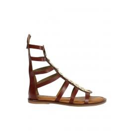 Kadın Kahverengi Bant Detaylı Hakiki Deri Düz Topuk Sandalet
