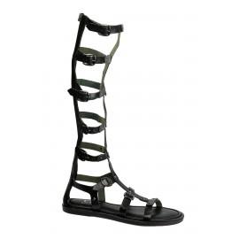 Kadın Siyah Bant Detaylı Deri Sandalet