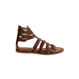 Kadın Kahverengi Bant Detaylı Deri Sandalet