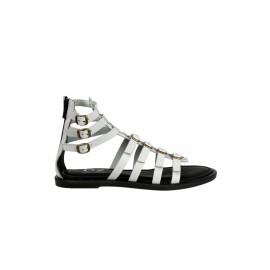Kadın Beyaz Deri Bant Detaylı Deri Sandalet