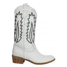 Kadın Deri Beyaz Nakışlı Çizme Western