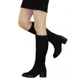 Kadın Siyah Nubuk Deri Çizme
