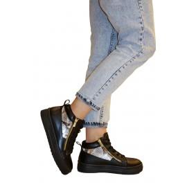 Kadın Siyah Fermuar ve Zebra Detaylı Ayakkabı