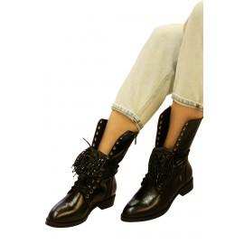 Kadın Topuklu Ayakkabı Siyah Yılan