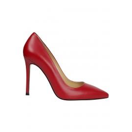 Kadın Deri Stiletto Tasarım Ayakkabı Kırmızı