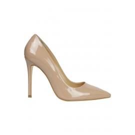 Kadın Deri Stiletto Tasarım Ayakkabı Bej Rugan