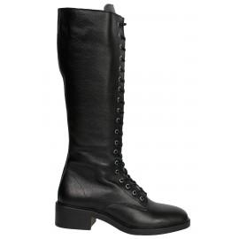 Kadın Deri Çizme Fermuarlı Siyah