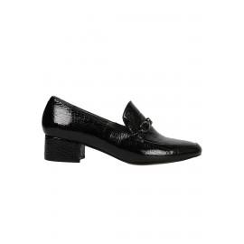 Kadın Siyah Rugan Tokalı Deri Topuklu Ayakkabı