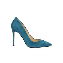 Kadın Deri Stiletto Tasarım Ayakkabı Mavi Süet